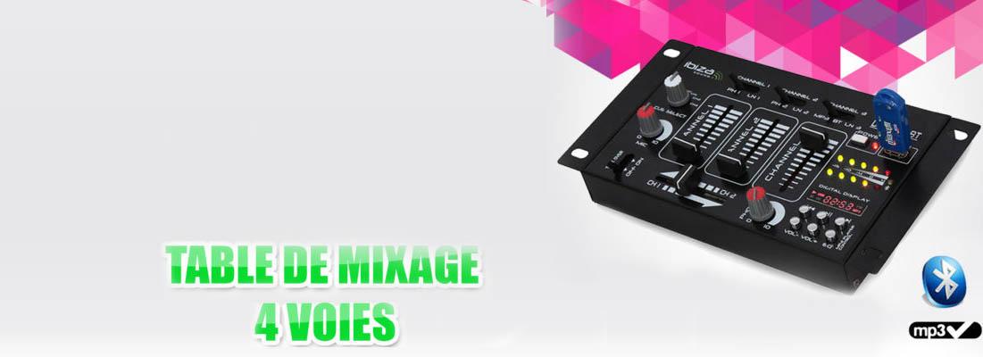 Table de mixage 4 voies et 7 entrées - Port USB et fonction Bluetooth- à seulement 59,90 euros